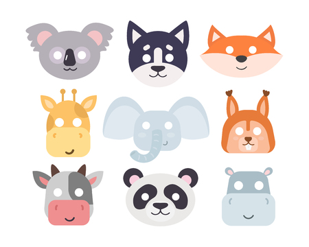 Animals carnival mask vector set festival decoration masquerade. Party costume cute cartoon animals carnival mask. Festival head decoration isolated celebration animals carnival mask. Ilustrace