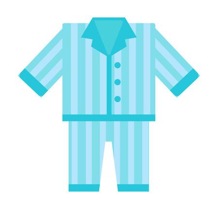 Fashion kid art comfort blue pajamas doodle vector. Sleep morning pajamas clothes cute bed female lifestyle illustration. Casual nightwear teenage pajamas cartoon clothing design.