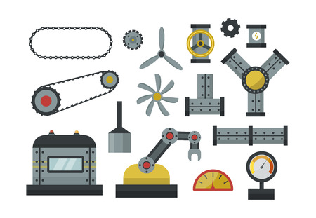 Parts of machinery flat icons set manufacturing work detail design. Gear mechanical equipment part industry technical engine. Vector technology icon set industry engineering technical factory tool.