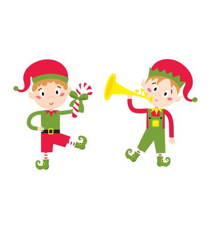 helper: Santa Claus kid cartoon elf helper vector illustration. Santa Claus elf helper children. Santa helper traditional costume. Santa family elf isolated on background. Santa Claus elf, christmas kid Illustration