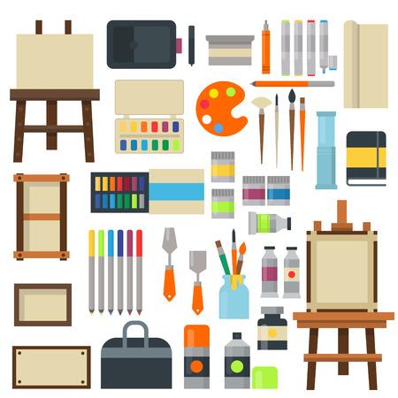 paint tube: Set of art icons in flat design creativity silhouette tube vector illustration. Collection paint brush set design art symbols palette. Artist paint art symbols painter graphic canvas.