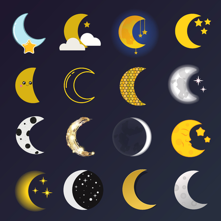 penumbra: Phases of the moon vector nature cosmos cycle satellite surface. Whole cycle from new moon month to full surface star astrology sphere. Vector illustration moon month astronomy space lunar. Illustration