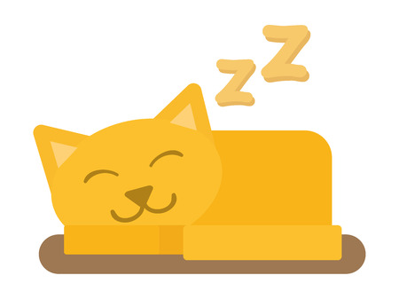 Cute cat sleeping domestic young adorable kitten cartoon vector illustration. Relax cat sleeping pet. Orange funny cat sleeping domestic pet. Illustration