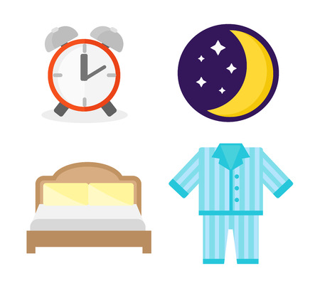 sleeping pills: Sleep time icons flat set with window milk and cookies isolated vector illustration. Sleep icons moon set pillow clock dream healthy lifestyle. Bedroom rest star human collection sleep icons.
