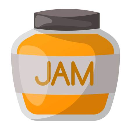 jam jar: Glass jar with orange jam isolated on white background. Preserve fruity dessert confiture color fruit conserved orange jam jar. Dessert marmalade healthy ingredient jam jar vector. Illustration