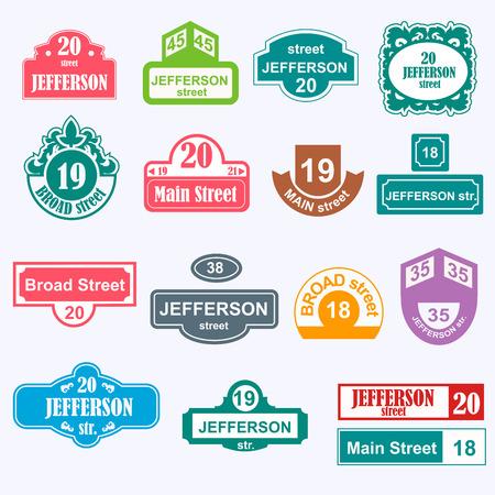 Hausnummern Bretter Zeichen isoliert. Stree und Hausnummern Vektor-Symbole. Straße Zahlen Vektor-Illustration. Straßenschild isoliert Vektor. Hausnummern iccons
