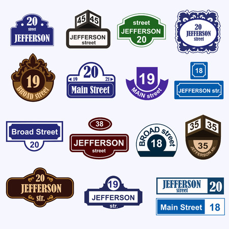 Huisnummers boards teken geïsoleerd. Stree en huisnummers vector symbolen. Huisnummers vector illustratie. geïsoleerd Street sign vector. Huisnummers iccons Stock Illustratie
