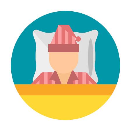 Sleep time icon flat isolated vector illustration. Sleep icon sweat dream. Night rest human sleep icon