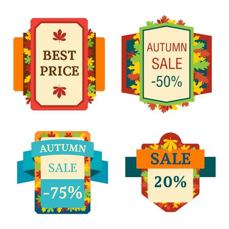 discount tag: Autumn sale vector badge. Autumn sale isolated on white background. Some shopping autumn big mega sale badge stickers silhouette Illustration