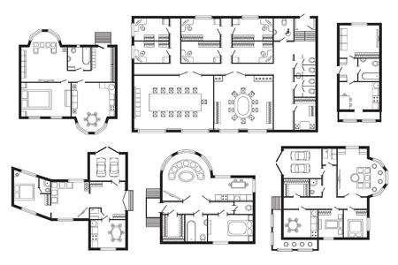 Modern office plan architectural mobilier d'intérieur. Vector architectural du projet de dessin de conception de la construction de plan. Plan architectural architecte ingénierie intérieur maison d'esquisse architecturale. Vecteurs