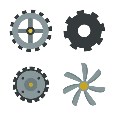 industrial machinery: Vector gears icon machine wheel mechanism machinery mechanical, technology technical sign. Engineering symbol, round element gear icon. Gears icons work concept, industrial design.