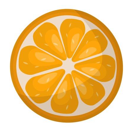 orange slice: Slice of fresh orange isolated on white background fruit. Orange slice vector citrus food, orange slice juicy organic sweet vitamin. Tasty healthy cut exotic fruit. Illustration