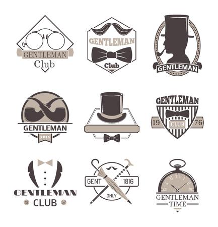 gent: Vintage hipster label gentlemen hipster icon. Vector illustration gentlemen hipster Illustration