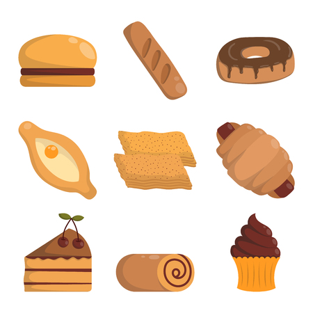 Vector illustration of bakery product food collection. Breakfast wheat meal chocolate dessert bakery products. Fresh grain product bun roll bakery products grocery health diet snack gourmet cereal. Illustration
