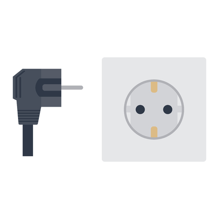 electrical appliance: Electric outlet illustration on white background. Energy socket electrical outlet plug appliance interior icon. Wire cable cord connection electrical outlet plug