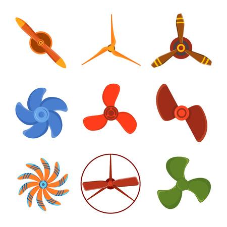 planos electricos: Turbinas iconos ventilador de hélice equipos de tecnología de la rotación. aspa del ventilador, ventilador de hélice equipo generador ventilador viento. Vector ilustración de la hélice del ventilador vector ventiladores industriales eléctricos.