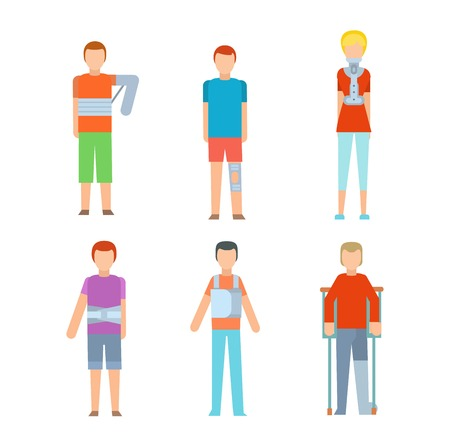 Trauma accident fracture human body safety vector people silhouette. Trauma fracture cartoon flat style people illustration isolated on white background Illustration