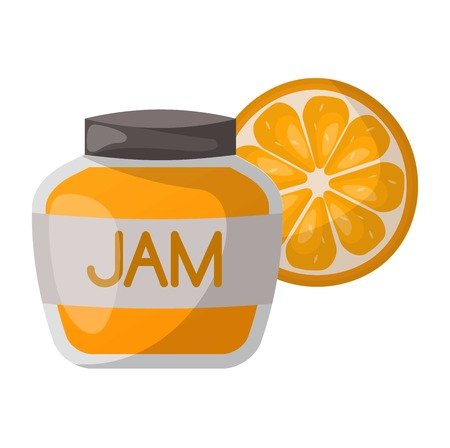 preserved: Glass jar with orange jam isolated on white background. Preserve fruity dessert confiture color fruit conserved orange jam jar. Dessert marmalade healthy ingredient jam jar vector. Illustration
