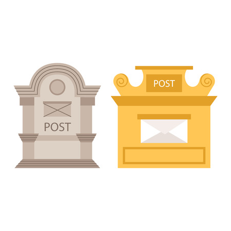 mailboxes: Beautiful rural mailboxes vector illustration. Traditional communication empty postage post mail box. Letter message post mail box service correspondence.