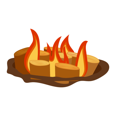 gas fireplace: Isolated illustration of campfires logs burning bonfire. Bonfires on white background. Vector bonfire isolated and wood explosion glowing bonfire isolated. Red nature burning blazing power vector.