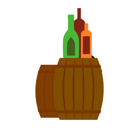 distillery: Wooden oak barrel isolated on white background. Beer barrel old wood drink container vintage keg isolated. Winery container, storage oak green beer barrel brewery dark vat aging vector. Illustration
