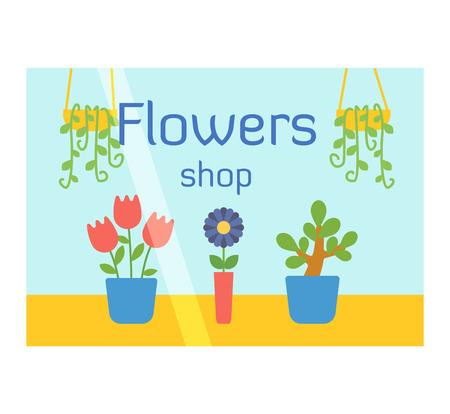 shop window: Flowers shop window facade illustration vector isolated