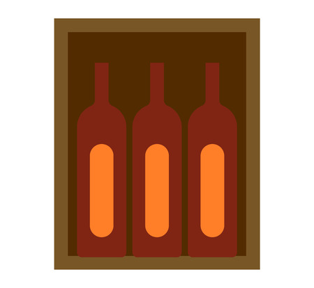 cabernet: Cabernet sauvignon wine bottles in wooden crate. Liquid design glass wine box isolated on white beverage container gift. Bottles of old red wine in gift wooden box package beverage vector.