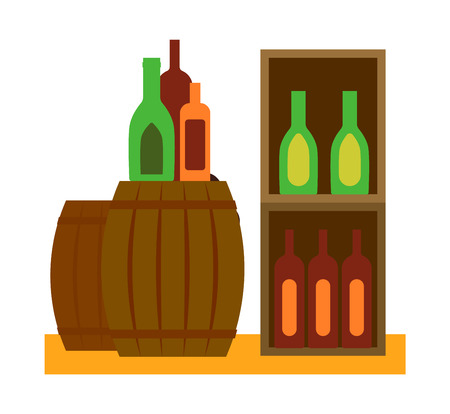 distillery: Wooden oak barrel isolated on white background. Whine barrel old wood drink container vintage keg isolated. Winery container, storage oak barrel aging vector.