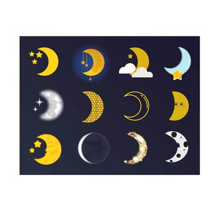 penumbra: Phases of the moon  nature cosmos cycle satellite surface. Whole cycle from new moon month to full surface star astrology sphere.  illustration moon month astronomy space lunar.