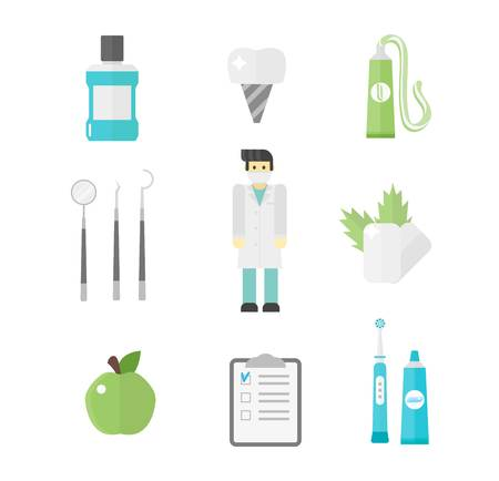 premolar: Dental icons vector set mouthwash collection. Medical forceps tools supplies orthopedic dental chair dental icons. Toothbrush hygiene implant health dental icons. Health care equipment. Illustration