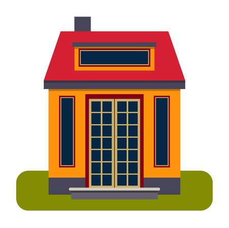 housing project: House front view vector illustration. House flat style modern constructions vector . House front facade building architecture home construction, urban house building s apartment front view