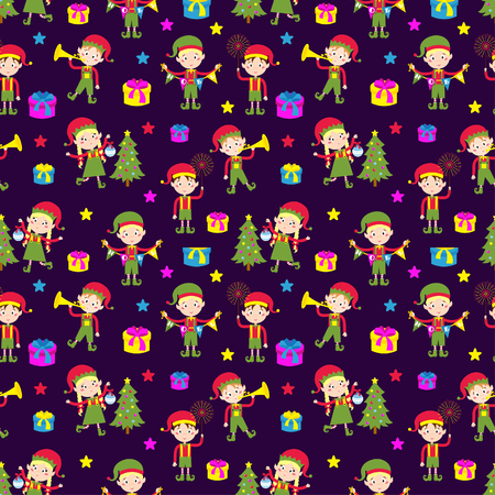 elfs: Santa Claus kids cartoon elf helpers seamless pattern vector illustration. Santa Claus elf helpers children. Santa helpers traditional costume. Santa family elfs isolated. Santa Claus elf kids Illustration