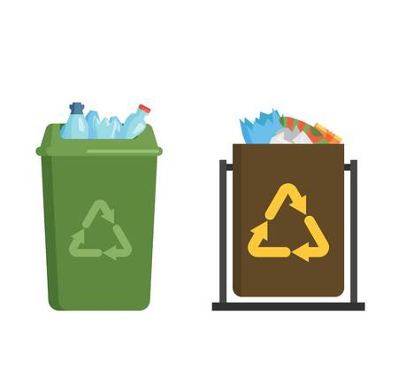 garbage container: Trash bin garbage container and trash bin recycle symbol vector. Garbage trash bin flat vector isolated on white background. Full trash bin Illustration