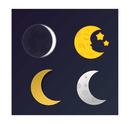 lunar month: Phases of the moon  nature cosmos cycle satellite surface. Whole cycle from new moon month to full surface star astrology sphere.  illustration moon month astronomy space lunar.