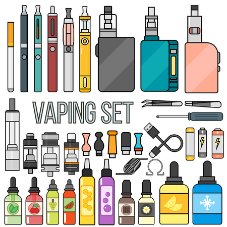 Vape device vector set cigarette vaporizer. Vapor juice vape bottle flavor illustration battery coil. vapor trend new culture electronic nicotine liquid. Smoking vaping set atomizer device eliquid.
