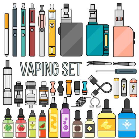 Vape 장치 벡터는 담배 기화기를 설정합니다. 증기 주스 vape 병 맛 그림 배터리 코일. 증기 동향 새로운 문화 전자 니코틴 액체. 설정 분무기 장치 eliquid