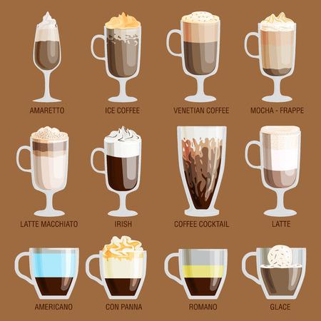 fredo: tazze di caffè diversi tipi caffè bevande espresso tazza con prima colazione schiuma bevanda segno mattina vettore. tazze di caffè prima colazione e le tazze caffè del mattino. Tazze di caffè con schiuma, diversi caffè di schiuma.