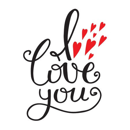 Vector I love You text hand drawn lettering collection, inspirational quote. Lovely text I love You follow your heart romantic type. I love You have greeting sign message decoration Ilustração