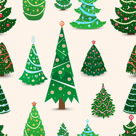 winter season: Christmas tree vector seamless pattern xmas gift design. Holiday celebration winter christmas tree. Vector ball season decorative shiny christmas tree, festive pine seamless pattern design Illustration