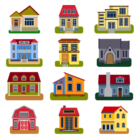 front of house: Houses front view vector illustration. Houses flat style modern constructions vector . House front facade building architecture home construction, urban house building s apartment front view Illustration