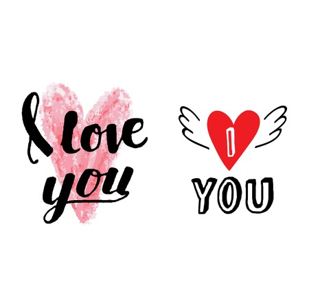 Vector I love You text hand drawn lettering collection, inspirational quote. Lovely text I love You follow your heart romantic type. I love You have greeting sign message decoration Illustration