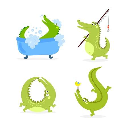 alligator isolated: Cute cartoon crocodile character green zoo animal. Cute crocodile character doodle animal like a toy with teeth. Happy predator crocodile character mascot comic color vector icon. Illustration