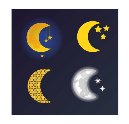 lunar month: Phases of the moon vector nature cosmos cycle satellite surface. Whole cycle from new moon month to full surface star astrology sphere. Vector illustration moon month astronomy space lunar. Illustration