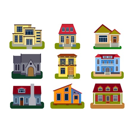 fasade: Houses front view vector illustration. Houses flat style modern constructions vector . House front facade building architecture home construction, urban house building s apartment front view Illustration