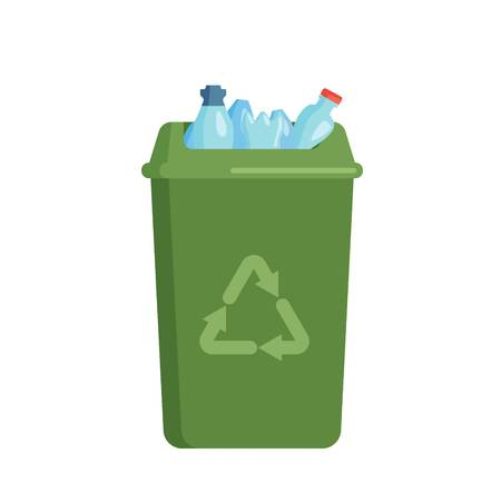 discard: Trash bin garbage container and trash bin recycle symbol vector. Garbage trash bin flat vector isolated on white background. Full trash bin Illustration