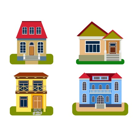 Houses front view vector illustration. Houses flat style modern constructions vector . House front facade building architecture home construction, urban house building s apartment front view Illustration
