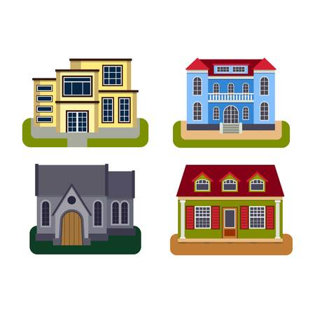 housing project: Houses front view vector illustration. Houses flat style modern constructions vector . House front facade building architecture home construction, urban house building s apartment front view Illustration