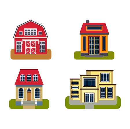 facade building: Houses front view vector illustration. Houses flat style modern constructions vector . House front facade building architecture home construction, urban house building s apartment front view Illustration
