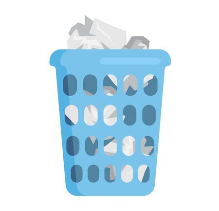 Trash bin garbage container and trash bin recycle symbol vector. Garbage trash bin flat vector isolated on white background. Full trash bin 向量圖像