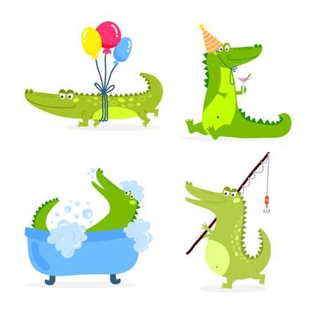 Lindo del personaje de dibujos animados cocodrilo animal del parque zoológico verde. carácter cocodrilo animales Lindo dibujo como un juguete con los dientes. Carácter feliz de la mascota depredador cocodrilo cómico icono de color vectorial.